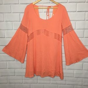 Double Zero Orange Bell Sleeve Dress (M)